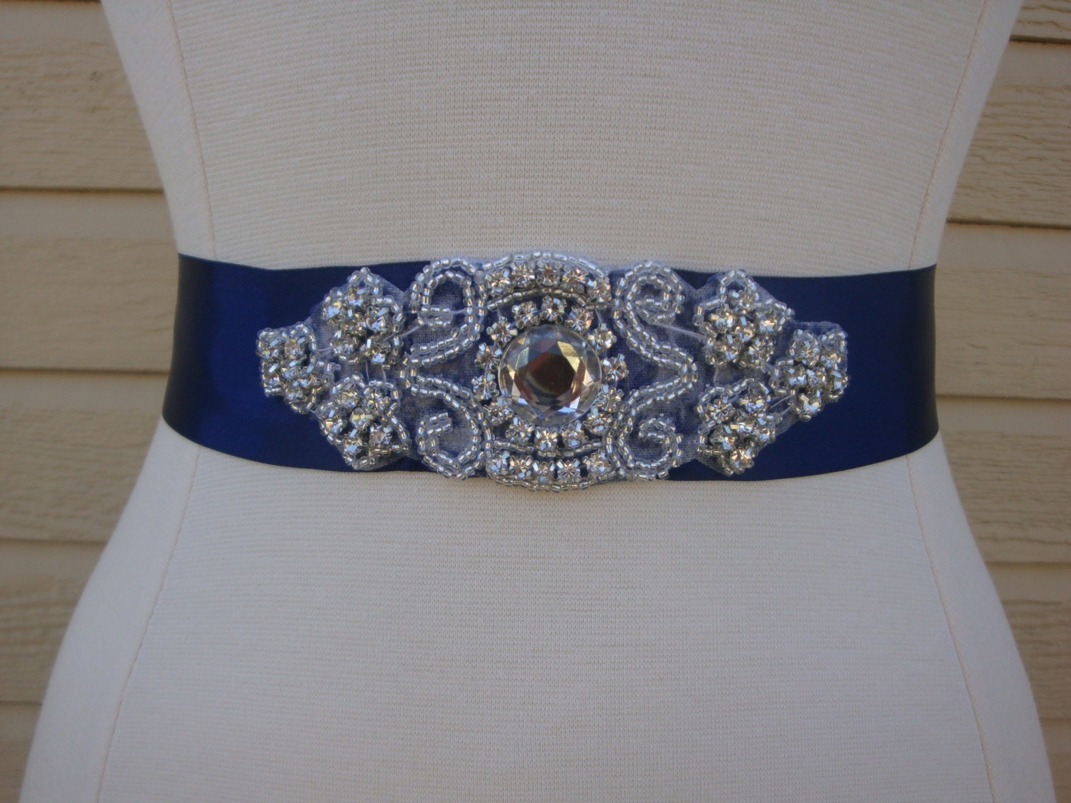 Navy blue bridal sash rhinestone wedding belt bridesmaid for Blue sash for wedding dress