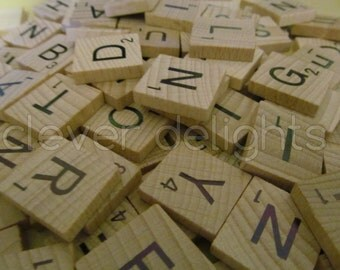 100 SCRABBLE TILES - Scrabble Pendant Pieces - Complete 100 Piece Set  - Wood Pieces - Scrabble Letters - Full Game Set