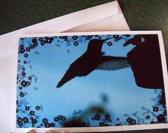 Hummingbird silhouette note card