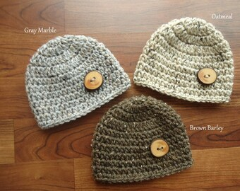 Crocheted Baby Hat Set, Newborn Photo Prop, Triplets - Wooden Tree Branch Buttons, Oatmeal, Barley, Gray Tweed, Hat Gift Set - MADE TO ORDER