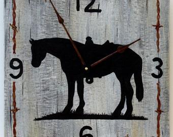 """Western Clock - 14"""" square, Horse Clock"""