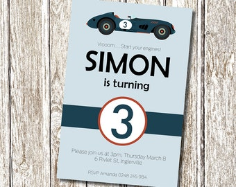 Vintage Race Car Birthday Party Invitation - Printable and Personalised