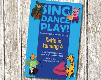 Music Party Invitation, sing, dance, play  - Printable and Personalised