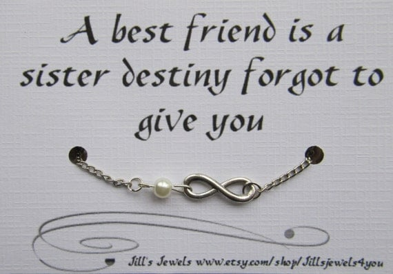 Quotes About Pearls And Friendship Best Best Friend Infinity Charm Bracelet With Pearl And Quote