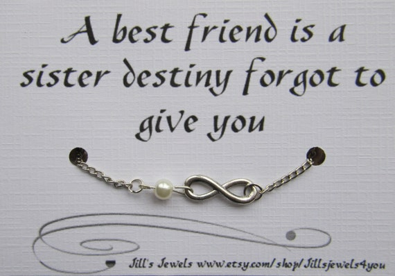 Quotes About Pearls And Friendship Cool Best Friend Infinity Charm Bracelet With Pearl And Quote