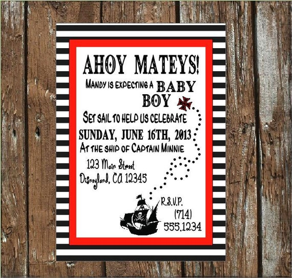 20 Pirate Baby Shower Invitations By SugarBritchesBakery On Etsy