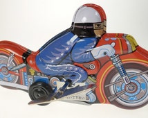 Motorcyle Tin Toy with Mystery Action  70's Wind up Toy  Made in Japan