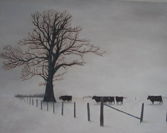 "Cows in Snow original oil painting on canvas 18"" x 24"" farm scene"