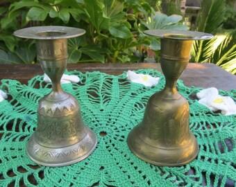 Two Brass Bell Candlesticks