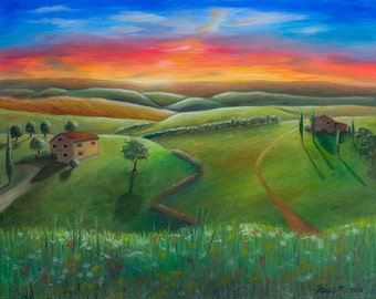 Tuscany Sunset Landscape Oil Painting 24 x 30 Stretched Canvas