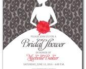 BRIDAL SHOWER Invitation - Pick any Color Combination or Bouquet Color - Bride Silhouette  - Silver Pink Gray Bridal Shower Color Scheme