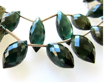 Hunter Green Faceted Elongated Crystal Quartz Chandelier Full Briolettes 18 X 10mm - 8 inch Strand