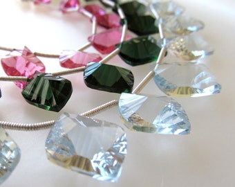 Ice Blue Quartz Faceted Special Cut Modern Leaves 15 X 10mm - 8 inch Strand