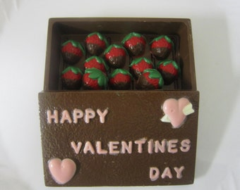 Chocolate Candy Box with 1 dz Chocolate Covered Strawberry Candies