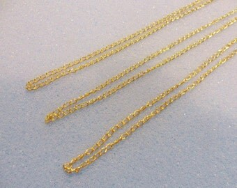 3 gold plated curb chains - 18 inches (46cm) - 3mm x 2mm chain - gold plated chain