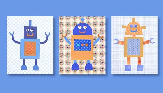 Robot nursery art baby boy prints blue and orange nursery for Robot baby room decor