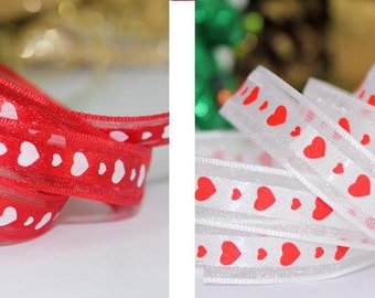 Wholesale Lot: 20 Yards White /Red Heart Printing Organza Ribbon , GIFT WRAPPING, Scrapbooking 13mm