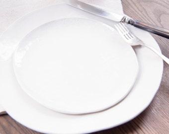 Handmade White Ceramic Salad Plate - Round