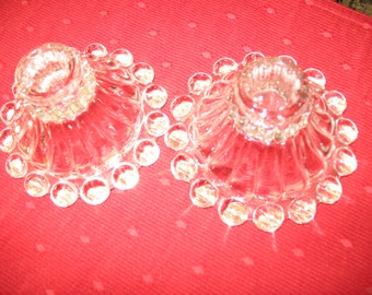 NEW  REDUCED PRICE.  Pair Crystal Clear Anchor Hocking Boopie Berwick Candlesticks Candleholders