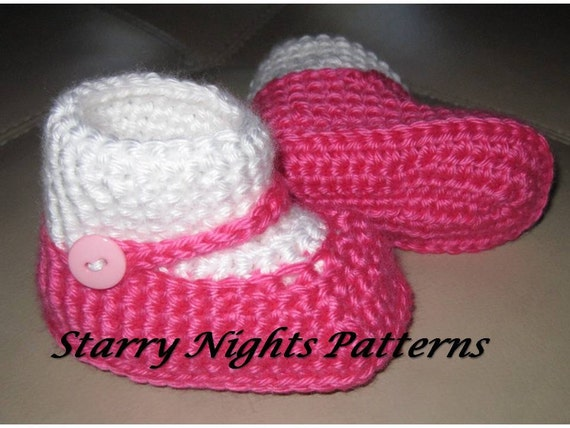Free Crochet Patterns For Baby Booties Mary Janes : Crochet baby booties mary jane Socks by StarryNightsPatterns