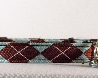 Cat Collar or Kitten Collar - Brown and Blue Argyle