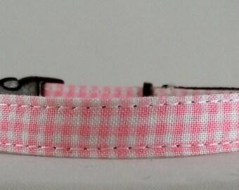 Cat Collar or Kitten Collar - Pink Gingham