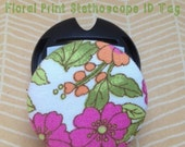 Pink, Orange, Green, and Brown Floral Stethoscope ID Tag