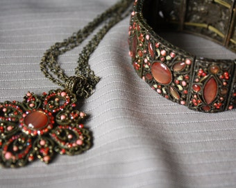 Vintage Pink Gothic Style Necklace and Matching Bracelet Set