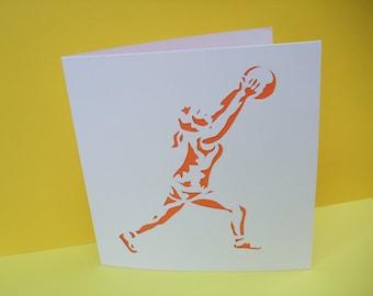 Netball Card - Paper Cut Card - Blank Handmade Greeting Card