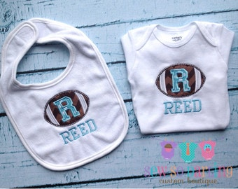 Personalized Football Baby outfit and Bib set - Football Bodysuit - Personalized baby boy gift - baby gift set