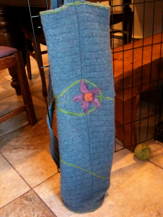 Upcycled Felted Wool Blue Yoga Bag with Needlefelt Flower, Leaf, and Vine