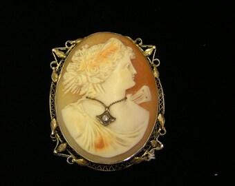 14k Antique Habille Diamond Shell Cameo  brooch Pendent