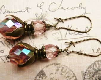 Earrings, Pink Crystal dangle earrings No. 107