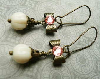 50% OFF Earrings, Dainty ivory and pink bow dangle earrings 2
