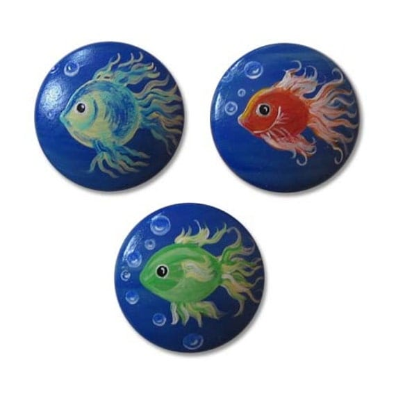 Items similar to kids fish drawer knobs nursery cabinet for Fish cabinet knobs