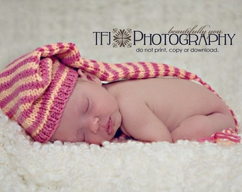 Knit Baby Hat Pixie Elf Stocking Hobbit Munckin Raspberry Peach or Any Colors  Or Size Newborn Baby Gift or Photo Prop