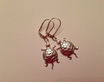 Turtle Earrings, Silver-Plated Brass Finish, Leverbacks