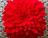Large Red Dahlia Flower - Felt