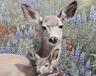 Doe and Fawn Painting
