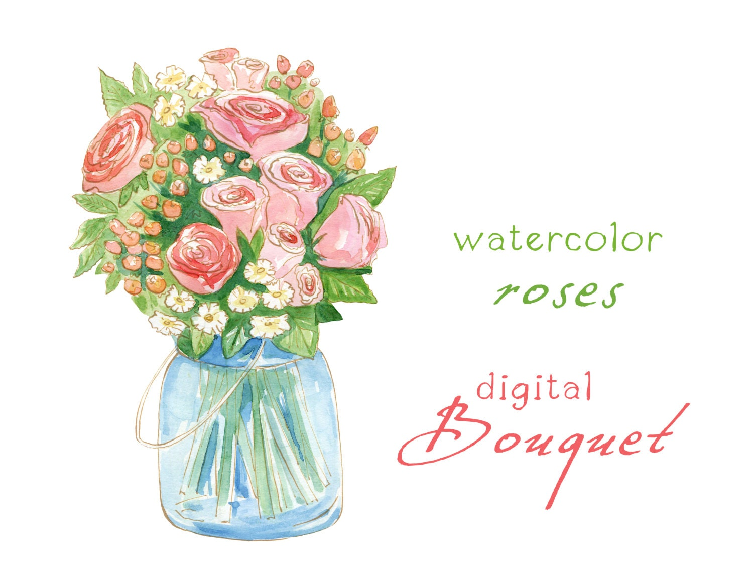 Digital clipart watercolor flowers rose bouquet by swiejkoforprint