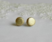 Modern Ceramic Earrings Stud Metal Gold Pottery Post - LemoneRouge