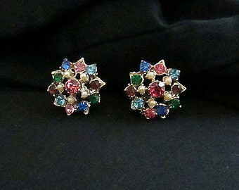 Vintage 1950s Multi Colored Rhinestone Earrings