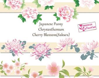 Flower Clip Art, Cherry Blossoms,SAKURA,Japanese Peony,Chrysanthemum - E007 - Instant Download