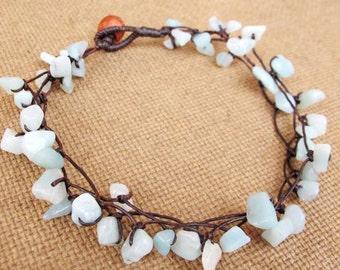 Boho Nugget Amazonite Stone Ankle Bracelet