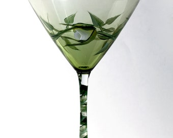 Set of Two Hand Painted Green Martini Glasses- White Rose Bud Design