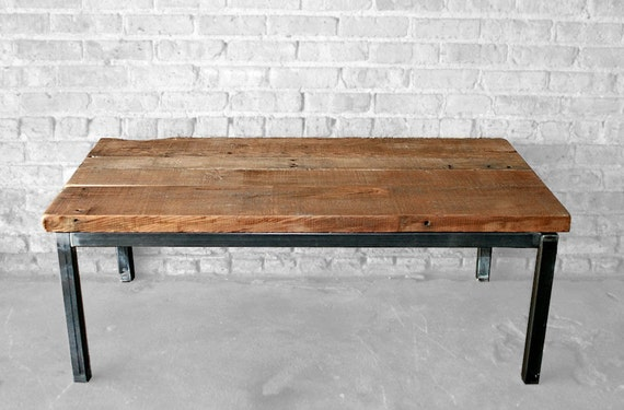Reclaimed Wood And Metal Coffee Table The Post By Wageoflabor
