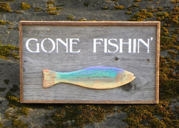 Handmade Wood Sign Outdoor Signs Lake And Lodge Decor Fish