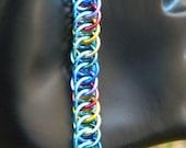 Brony Team Color Bracelet, Sky Blue and Rainbow Half Persian 4 in 1 Chainmaille Bracelet, Brony Bracelet