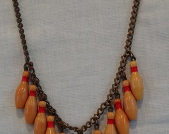 Vintage Bakelite Bowling PIn Necklace