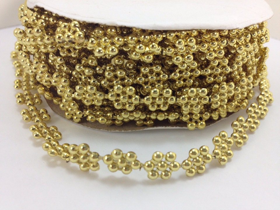 10 yards gold metallic flower pearl bead trim accent for